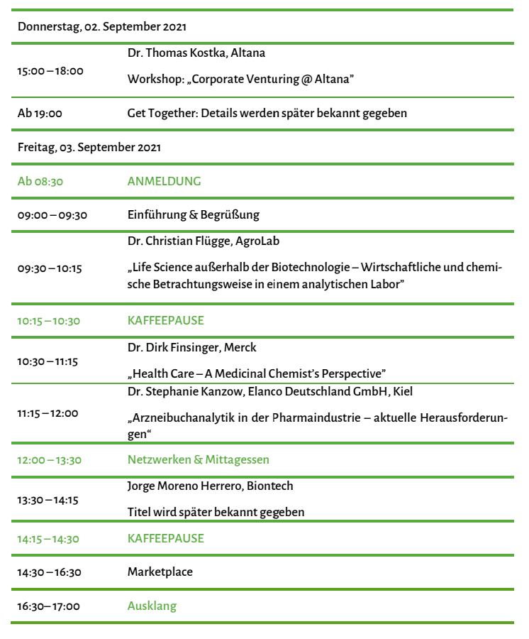 Programm JuWiChem-Day 2021
